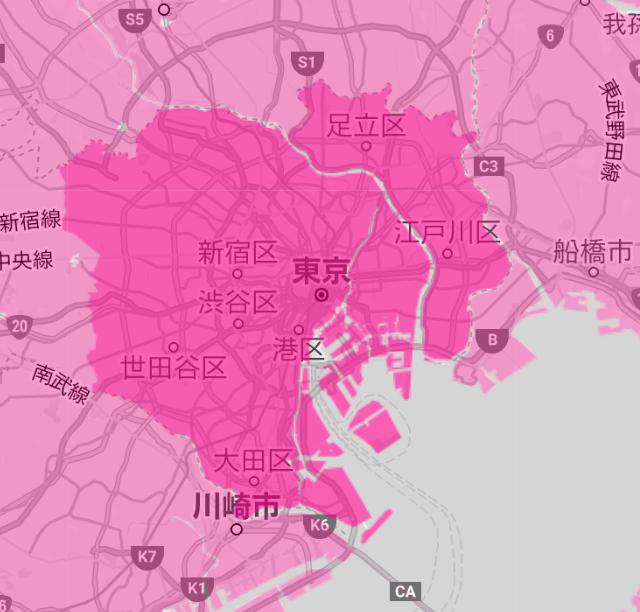楽天モバイル 東京都のエリア