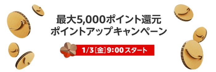 アマゾン5000ポイントアップ