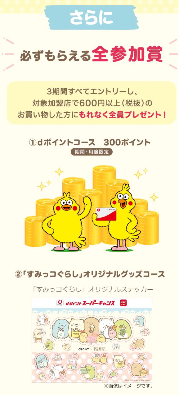 dポイントスーパーチャンス すみっコぐらし参加賞