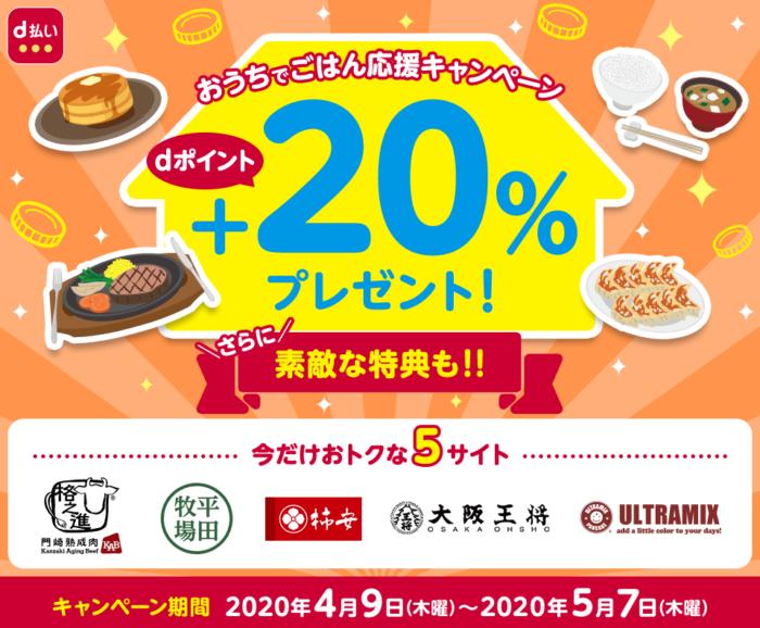 おうちでご飯応援キャンペーン 20%プレゼント