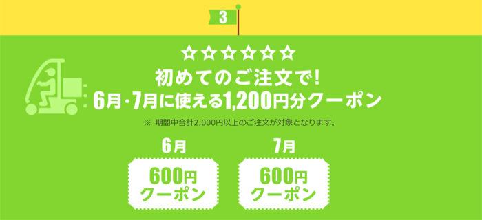 初回注文で1200円クーポン