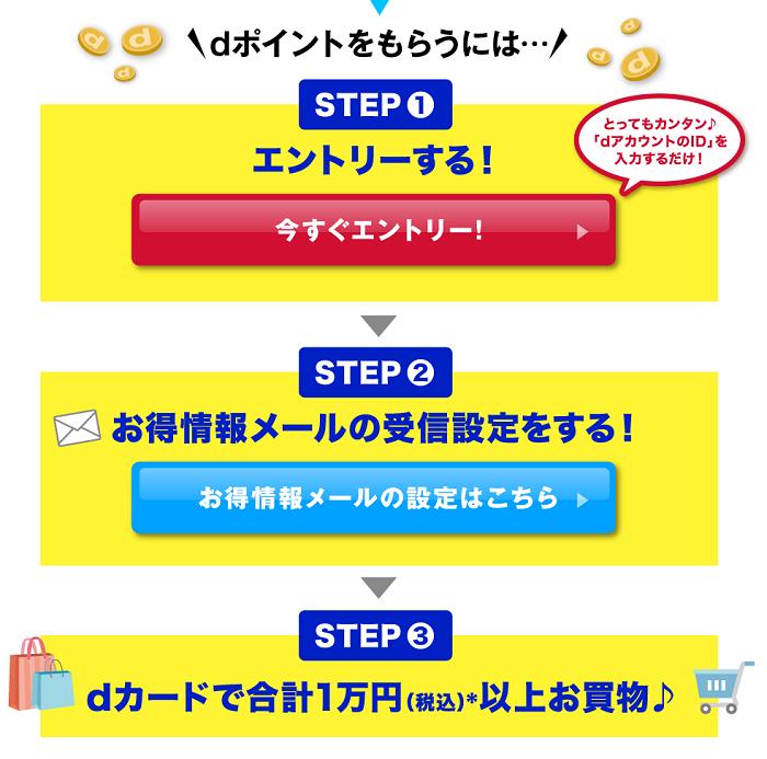 dポイントをもらうには…STEP1 エントリーする! STEP2 お得情報メールの受信設定をする! STEP3 dカードで合計1万円(税込)以上お買い物♪