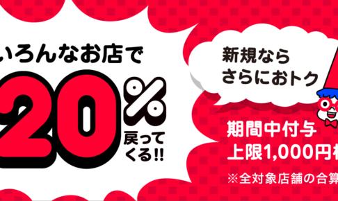 超PayPay祭!すべての対象店舗で最大20%戻ってくる!