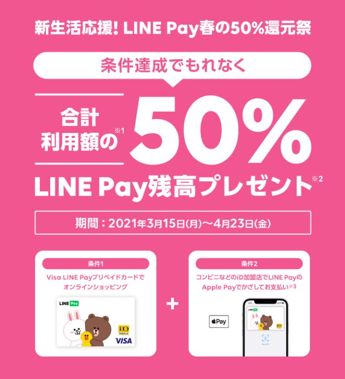 新生活応援!LINE Pay春の50%還元キャンペーン|LINE Pay